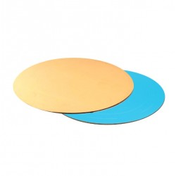 Подложка для торта круглая (золото, голубая) d 30 см толщ. 3,2 мм