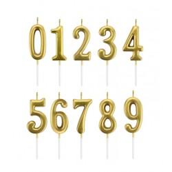 Свеча цифра золото в ассортименте,1 шт (h=6см)