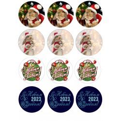 'Новый год на капкейки 3' картинка на сахарной бумаге,A4