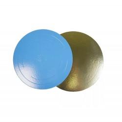 Подложка для торта золото голубой картон КРУГ 30см 3,5мм (клен)