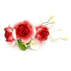 Цветочная ветка малая Красная 1шт