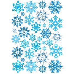 'Снежинки ассорти' картинка на сахарной бумаге, А4