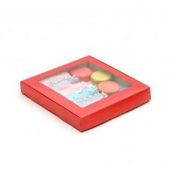 Коробка для пряников 21*21*3 см самосборная красный 4588957