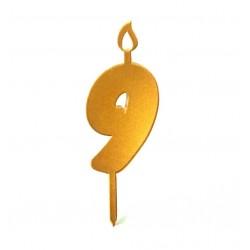 Топпер свеча для торта цифра 9 золото