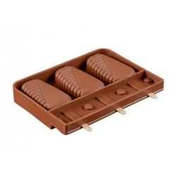 Силиконовая форма для мороженого на 3 шт Рифленый край (коричневый)