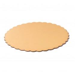 Подложка 20 см усиленная круг фигурная золото белая 3,2 мм