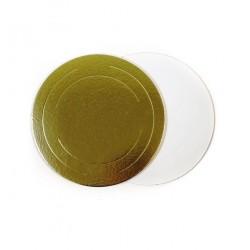 Подложка для торта золото белый картон КРУГ 26см 3,5мм (клен)