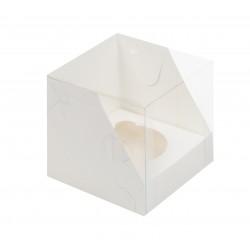 Коробка для капкейка на 1 ячейку с пластиковой крышкой белая 100*100*100 мм 040120