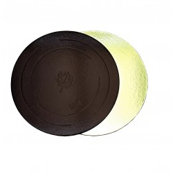 Подложка для торта золото кофе картон КРУГ 30см 3,5мм (клен)