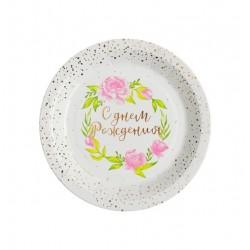 Тарелка бумажная «Красочное день рождения», 18 см, розово-золотое тиснение (10 шт) 3899143