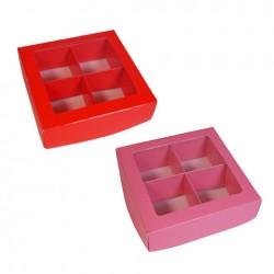 РАСПРОДАЖА_Коробка для конфет 100*100*35мм на 4 ячееки АЛАЯ с окошком