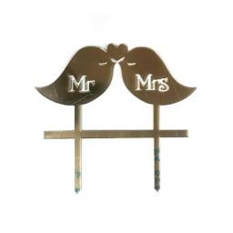 'Птички Mr&Mrs' золото, пластиковый топпер для торта