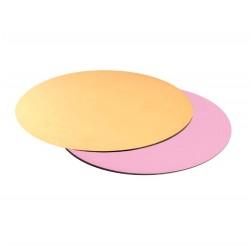 Подложка для торта круглая (золото, розовая) d 30 см толщ. 3,2 мм