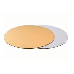 Подложка 30 см усиленная круг золото-белая 3,2 мм