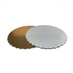 Подложка 30 см усилленая круг фигурная золото-белая 3,2 мм