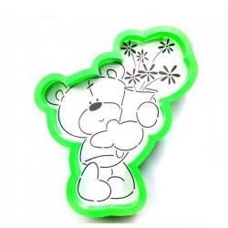 Трафарет+форма 'Мишка тедди с букетом' LC-00004497 пластик