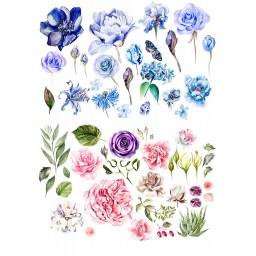 'Цветы акварель' картинка на сахарной бумаге, А4