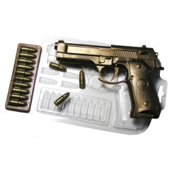 'Пистолет и патроны' пластиковая форма для шоколада (MF)