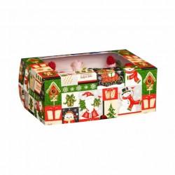 Коробка для капкейков на 6 ячеек НОВОГОДНИЙ МИКС с окном 25*17*10см 5180886
