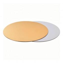 Подложка 34 см усиленная круг золото-белая 3,2мм