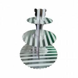 Подставка для капкейков картон 'Серебряные полоски (тиснение)'