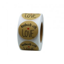 Наклейки в рулоне Hand made with love №2 (500 шт)