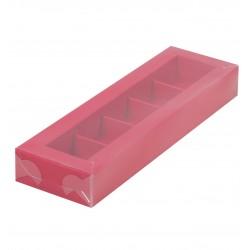 Коробка для конфет на 5 ячеек КРАСНАЯ с вклеенным окном 235*70*30мм 050106