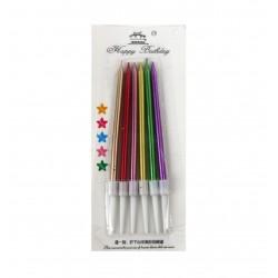 Свечи длинные разноцветные перламутр набор 6 шт h=11.5см