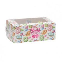 Коробка для капкейков на 6 ячеек ПОНЧИКИ с окном 25*17*10см 5928104