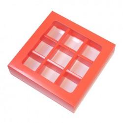 Коробка для конфет 125*125*30мм на 9 ячеек АЛАЯ с окошком