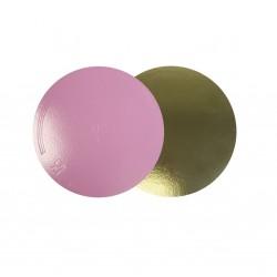Подложка для торта золото розовый картон КРУГ 30см 3,5мм (клен)