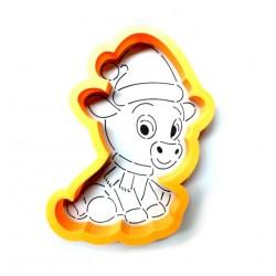 Трафарет+форма 'Бычок с шарфиком и шапочкой' LC-00009852 пластик 11*7см