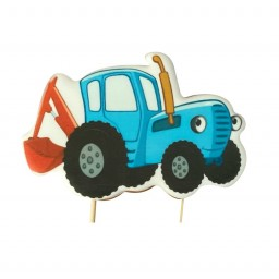 Синий трактор пряник на палочке 1 шт