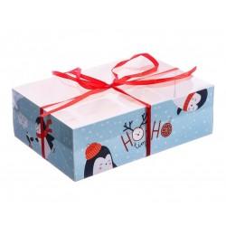 Коробка для капкейка с PVC-крышкой «Пингвины», 16 ? 23 ? 7,5 см 3597150