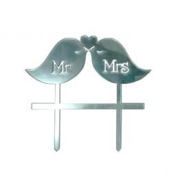 'Птички Mr&Mrs' серебро, пластиковый топпер для торта