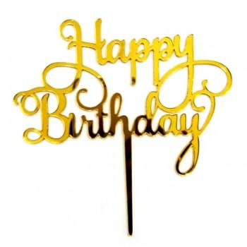 'Happy birthday'  топпер,золото, пластик, для торта 3953335