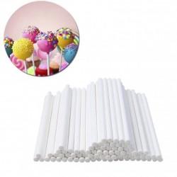 Палочки для кейкпопсов,бумага,белый, 50 шт,10 см