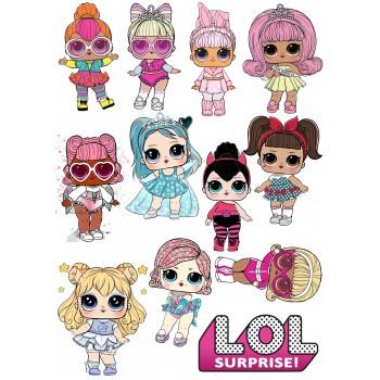 'Куклы LOL фигурки3'картинка на сахарной бумаге,A4