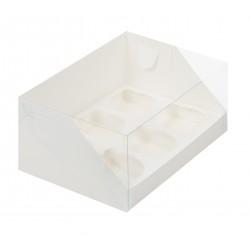 Коробка для капкейков на 6 ячеек 235*160*100 белый с пластиковой крышкой 040311