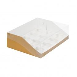 Коробка для капкейков на 12 ячеек ЗОЛОТО-МАТОВАЯ с пластиковой крышкой 310*235*100мм 040516
