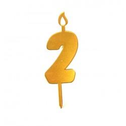 Топпер свеча для торта цифра 2 золото
