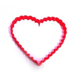 'Сердце ажурное 9,5см' вырубка для печенья пластик (красный)