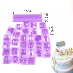 'Алфавит английский с держателем' набор вырубок (фиолетовый)