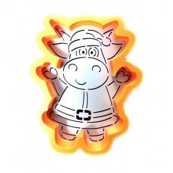 Трафарет+форма 'Смешная коровка в костюме санты' LC-00009893 пластик 11*9см