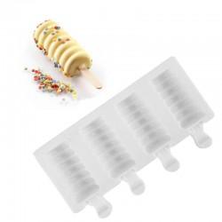 Силиконовая форма для мороженого Рифленая 33*66 мм, 4 ячееки
