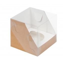 Коробка для капкейка на 1 ячейку 100*100*100мм КРАФТ с пластиковой крышкой 040121