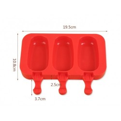 Силиконовая форма для мороженого на 3 шт (красный)