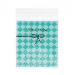 Пакетик для печенья Hande made голубой с кружевом с клейкой лентой10*10(+3),20 шт