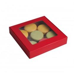 Коробка для пряников и печенья 16*16*3 см самосборная с окном красная 4588933