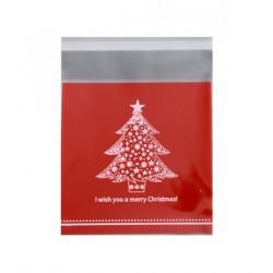Пакет для пряника с клейкой лентой Елочка (красный) 10*10см 20шт